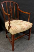 A 19th century mahogany open arm elbow chair, pierced lyre splat, floral upholstered seat, inlaid