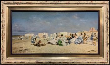Bauer (20th century, continental school), 'Aristocratic Beach Gathering', signed, oil on board, 29cm