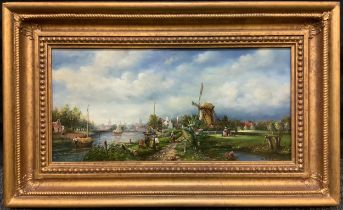 Dutch School (20th century), 'Summertime, Mill and Barges', indistinctly signed, oil on panel,