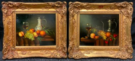 Clariss (Contemporary School), A Pair; '18th century Dutch style' Still-life studies, signed, oils
