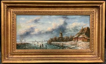 Dutch School (20th century), 'The Frozen Mill Pond', indistinctly signed, oil on panel, 19cm x 39cm.