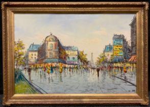De Luca, 'Parisian Street Scene', signed, oil on canvas, 61cm x 92cm.