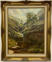 Rex N. Preston, Stream in Fairbrook Valley, signed, dated '83, oil on canvas, 51cm x 40.5cm.