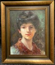 Impressionist School (20th century), 'Portrait of a Young Lady', indistinctly signed, oil on canvas,