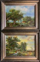 Dutch School, A Pair, Idyllic Landscapes, indistinctly signed, oils on board, 12cm x 17cm, (2).