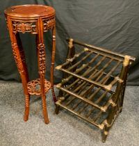 A 20th century Oriental style Mahogany Torchere/pot stand, with chinoiserie carved decoration,