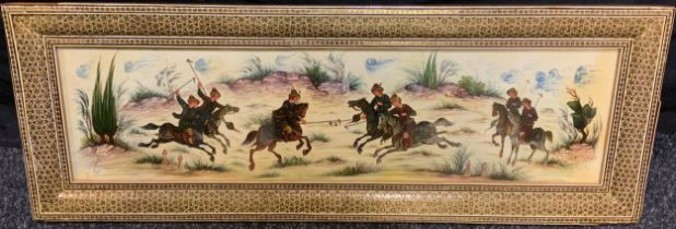A Middle Eastern painting on Plaque, 'A Clash of Horsemen', indistinctly signed, 17cm x 63cm; in a