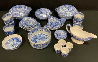 A Copeland Spode Italian pattern collection of kitchenware, comprised of a pair of large tureens