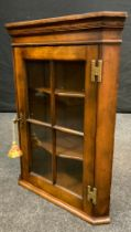 A Reproduction, George III style, Small Oak Corner Cabinet, glazed door enclosing pair of shelves,