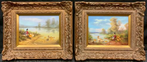 Continental School, A Pair; 'Mallards with chicks at the water's edge', indistinctly signed, oils on