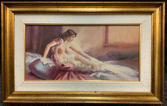 Giorgio Rocca, 'Figura di Nudo', signed, oil on canvas, 20cm x 40cm.