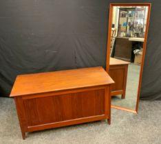A 1970's Teak Blanket Box, 54cm tall x 99cm wide x 46cm depth; a 1960's style teak framed dressing