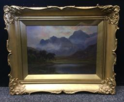 English School, Misty Morning over Buttermere , Cumbria , oil on panel, 21cm x 30cmoil