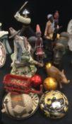 A Capodimonte figure seated Shepherd and Goat; oriental warrior; tribal figures etc.