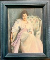 English School (20th century), Portrait of a Lady, unsigned, oil on board, 24cm x 19cm.