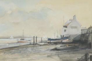 English School (20th century) White Fishing House watercolour, 22cm x 33cm; J** Sadler Lochside