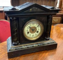 A 19th century Ebonised Mantel Clock, H. A. C. (Hamberg American Clock Company), 14-Day Strike