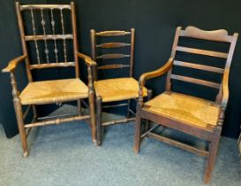 An 18th century oak side chair, c.1760; others (3)