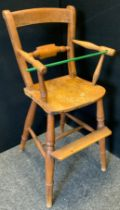 A late 19th/early 20th century child's beech high chair