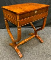 A Reproduction Burr Walnut veneer workbox table, rounded rectangular top, boxwood stringing,