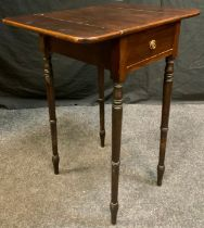 An Early Victorian Pembroke Side Table, having a rounded rectangular top, over a single short