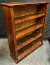 A Victorian Inverted Breakfront, Four-shelf, Mahogany Bookcase, 111cm tall x 87cm wide x 26.5cm