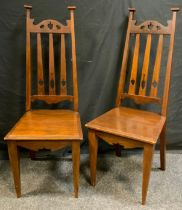 A Pair of Arts and Crafts Mahogany Side Chairs, c.1890, 102cm tall, (2).