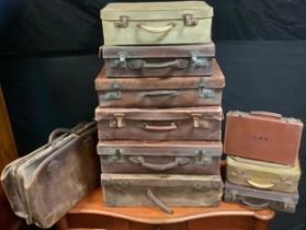 Vintage Luggage; an early 20th century Gladstone Bag; a collection of nine leather and faux shagreen