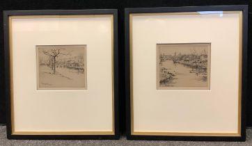 Eugene Bejot (1867-1931), pair, Pont Del Rey & Le Mauzauares, signed, etchings, 14.5cm x 16.5cm (2)