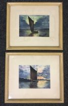Charles Pigott (1863-1949), A Pair; Broadland Wherries, each signed and dated 1905, 17cm x 23cm, (