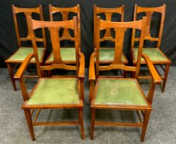 A Set of six Arts and Crafts Oak Dining Chairs, flat columnar splat, tapered square supports and