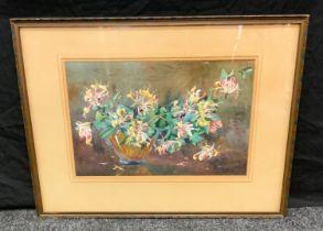 John D Kennedy, Scottish, Honeysuckle Vase, signed, watercolour, dated 1950 verso, 32cm x 50cm.