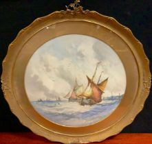 J. Hill (19th century english school), 'Full Sail on Choppy Seas', signed, watercolour, circular, 50