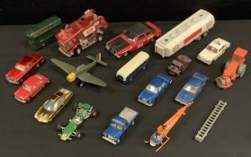 Dinky Toys - Diecast vehicles, Ed Strakers Car, gold, blue interior, cast hubs; Ford Mercury Cougar,