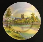 A Royal Worcester shaped circular plate, decorated with Worcester Cathedral, 27cm diam, printed