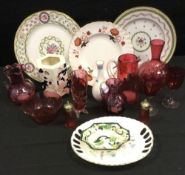 Ceramics and glass - a Victorian cranberry glass jug; other vases, bowls, spill holder; Royal