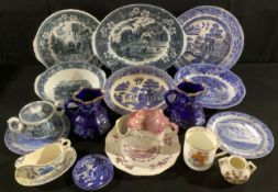 Ceramics - a Mason's Regency pattern mint sauce boat on stand; a reproduction Sunderland lustre