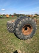 2 x Goodyear 66 x 43.00 - 25 NHS 8 stud wheels & tyres