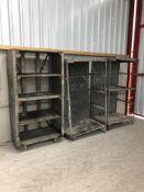 3x Metal shelves