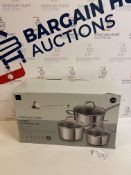 Stainless Steel 3 Piece Saucepan Set, RRP £69
