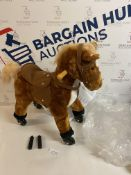 HOMCOM Wooden Action Pony Wheeled Walking Horse RRP £70