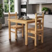 Vida Designs Corona Dining Set 2 Seater, Solid Pine Wood, Dining Table With 2 Chairs RRP £95