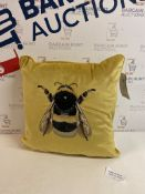 Velvet Embroidered Bee Cushion