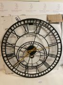Metal Skeleton Wall Clock, Large (hour hand slightly dented, see image) RRP £89
