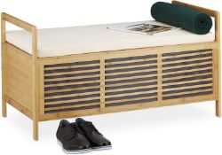 Relaxdays Bamboo Storage Bench Ottoman Seat RRP £115