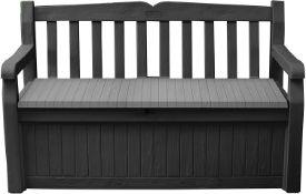 Keter Eden Bench Outdoor Storage Box Garden Furniture, Graphite and Grey RRP £200