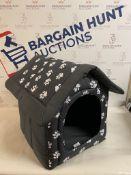 Hobbydog Dog House, Grey with Paws