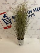Artificial Large Pom Pom Grass In Pot (pot cracked, see image)