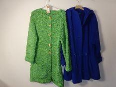 2 Vintage coats - Blue coat St Michael size 12 with hood , no makers label in green knitted coat