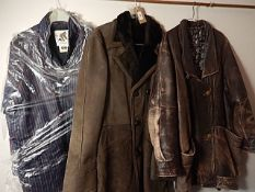 3 Vintage coats/jackets to include Sheepskin coat, well worn 'Leatherette' jacket with a tear in the